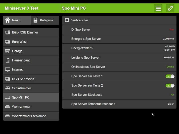 Loxone - Steuerung und Information im Browser oder via Smartphone App.